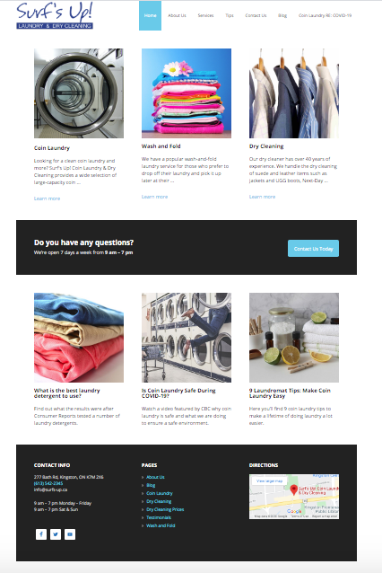 Surfs-up! is a Toronto Web Design Company client and a sample of a small business website