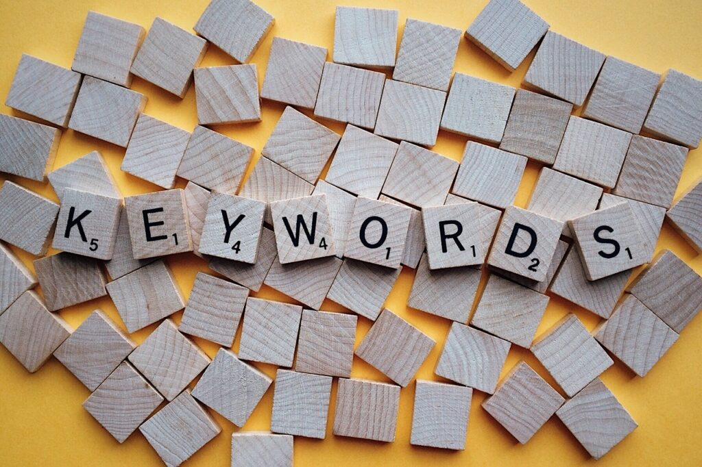 Keywords (written with scrabble pieces) is a reason you may not rank on Google