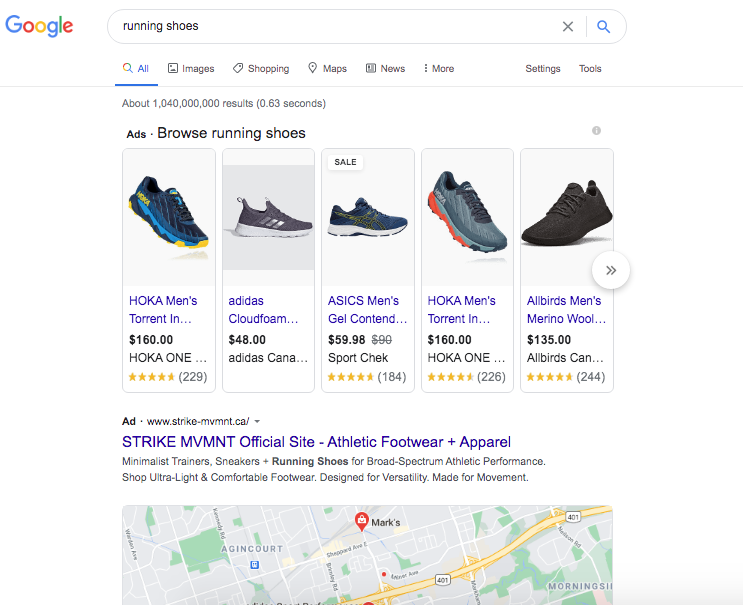 """search results for keyword """"running shoes"""" shows transactional intent"""